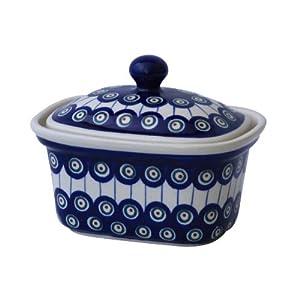 Boleslawiec Pottery Margarine Dish, Original Bunzlauer Keramik, Decor 8