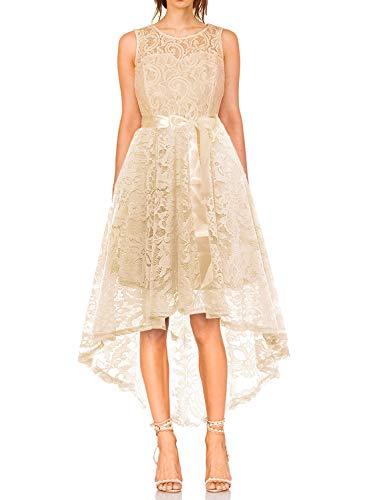 KT-SUPPLY Damen Elegant Schwingendes Kleid aus Spitzen Asymmetrisch Ärmellos Unregelmässig Abendkleider Festlich Cocktailkleider Ballkleid Pinup Rockabilly Party Brautjungfern Kleid Hellgold S