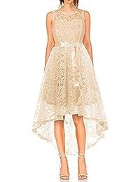 dc35fd4ea50d MONYRAY Vestito Donna Elegante Cerimonia in Pizzo Floreale Abito da Sera  Corto Davanti Lungo Dietro