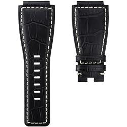 Echtes Leder Uhrenarmband für Bell & Ross BR-01, Schwarz mit Elfenbein, 24mm