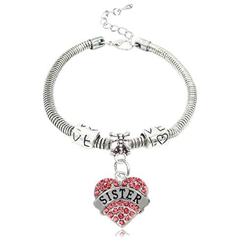 Pulsera Sister inscrito en un corazón de Cristal Rosa Strass. Pulsera de Malla de Serpiente Plateada. Regalo para una Hermana de corazón o Sangre