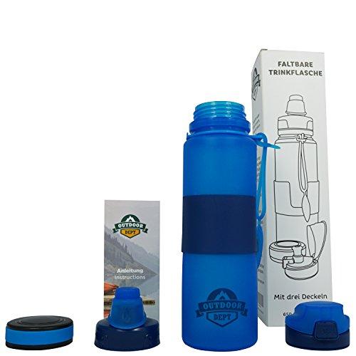 Trinkflasche BPA Frei I 3 Deckel I Faltbar I Für Sport, Fitnessstudio, Fahrrad, Fußball, Outdoor, Schule I 650 ML I Wasserflasche I Sportflasche I Getränkeflasche I Spülmaschinenfest