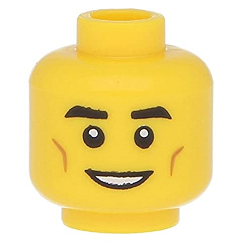 LEGO® Minifig, Head Male Black Eyebrows, Cheek Dimples, White Yellow