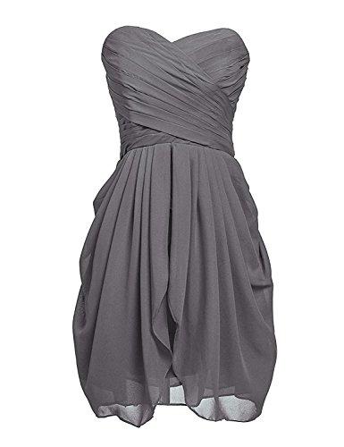 Clearbridal Damen Mini Chiffon Ballkleid Abendkleider Faltenrock Abschlussballkleider CSD247 Grau...
