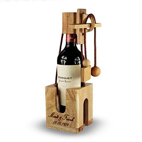 Puzzle botella de madera fina y clara – Personalizado con nombre, fecha o mensaje personal - Caja regalo para botellas de vino – Juego de ingenio