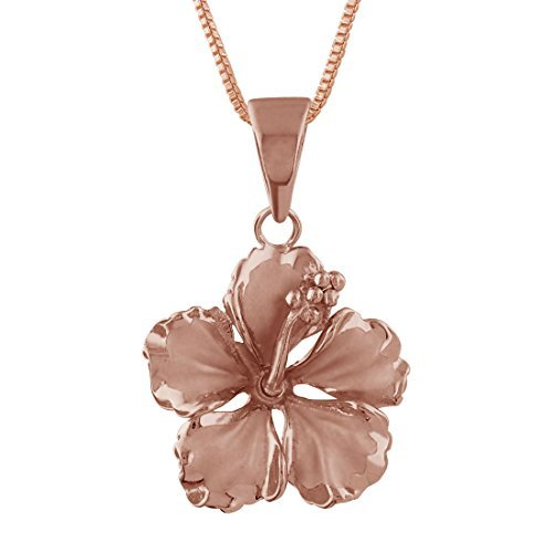 lry 14kt Rose Vergoldet Sterling Silber 17mm Hibiskus Anhänger Halskette, 16+ 5,1cm Extender ()