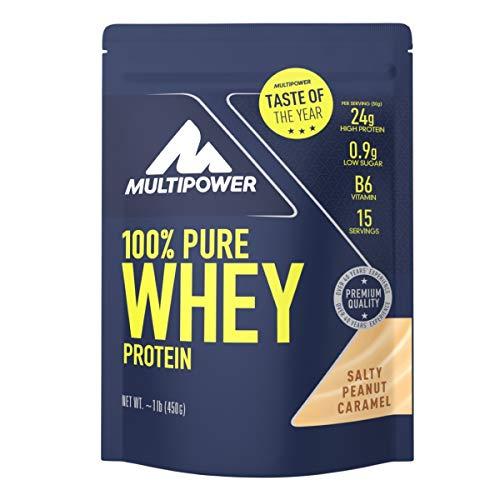 Multipower 100% Pure Whey Protein - wasserlösliches Proteinpulver mit Salty Peanut Caramel Geschmack - Eiweißpulver mit Whey Isolate als Hauptquelle - Vitamin B6 für Proteinstoffwechsel - 450g -