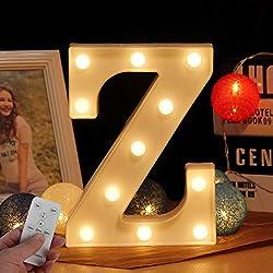 LED Buchstabe Lichter Alphabet LED Brief Licht Alphabet Zeichen mit drahtloser Timer Fernbedienung Dimmable Led dekoration für Geburtstag Party Hochzeit & Urlaub Haus Bar (WHATOOK) (Z)