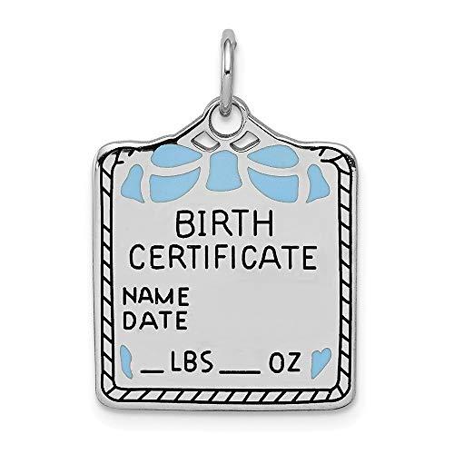 Charm-Anhänger 925 Sterling Silber 17 mm blau Geburtsurkunde poliert Vorderseite Satin Rückseite -