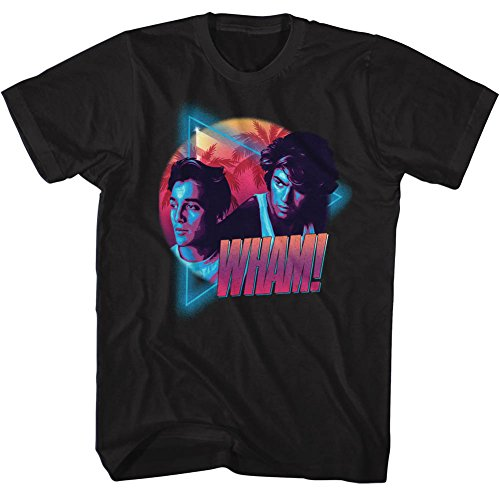 Wham English Music Duo Mi Wham I Vice Black Adult T-Shirt Tee