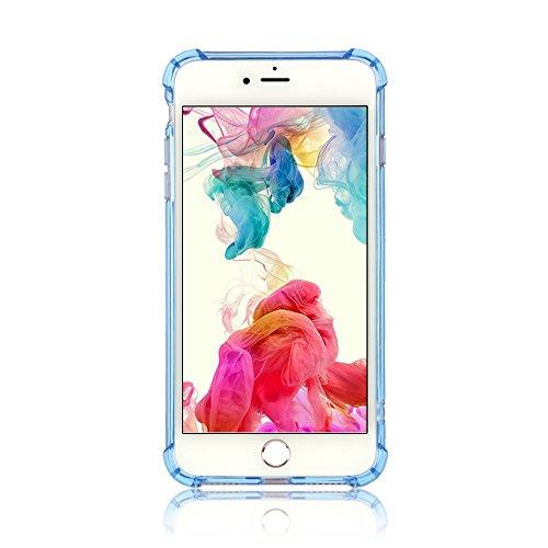 Boriyuan IPhone 7 Plus Hülle TPU Case Bumper Rückschale für IPhone 7 Plus 5.5 Zoll Schutzhülle transparent (Transparent) Blau