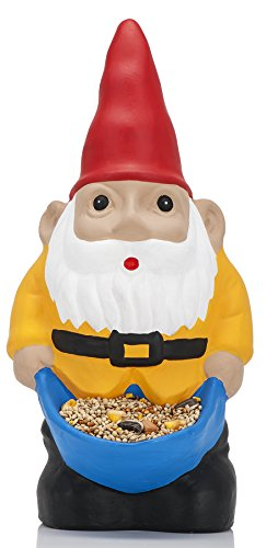 NPW Novelty Funny Garden Gnome - Nibble My Bits Bird Feeder