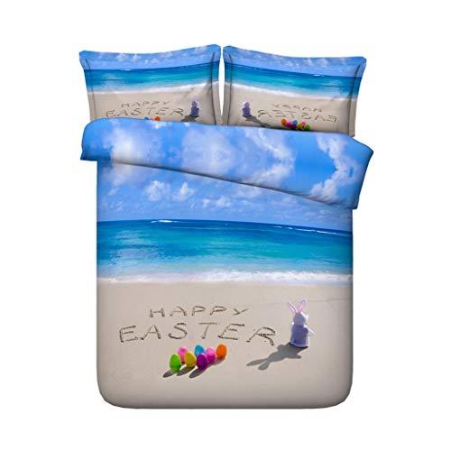 G'z Happy Easter Rabbit Bettbezug-Sets Bunny Chicken Tröster Cover Set 3 Stück Bettwäsche Set mit 2 Kissen Shams für Jungen Mädchen Kinder (Farbe : Ocean Duvet, größe : Cal King) (Ocean Tröster Set Königin)
