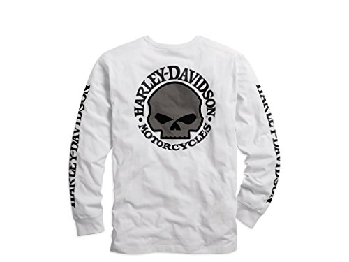 Skull Long Sleeve Tee (Harley-Davidson Men's Skull White Long Sleeve Tee, 99092-14VM, XXL)