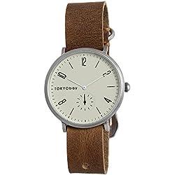 TokyoBay t338-br Herren Edelstahl braun Leder Band Weiß Zifferblatt Smart Watch