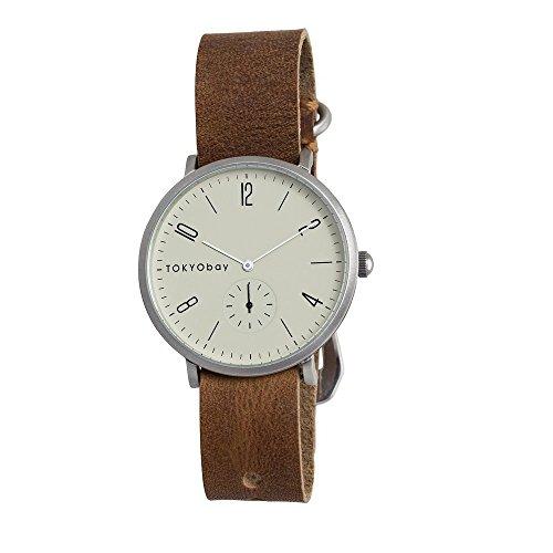 tokyobay-t338-br-hombres-del-acero-inoxidable-banda-de-cuero-marron-esfera-blanca-reloj-inteligente