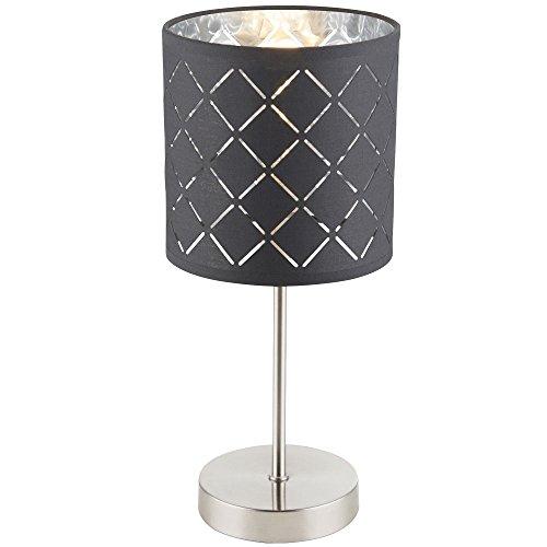 Stoff Tisch Lampe Wohn Schlaf Zimmer Schalter Lese Strahler Beleuchtung grau silber Globo 15228T - Tisch Lampe Schalter