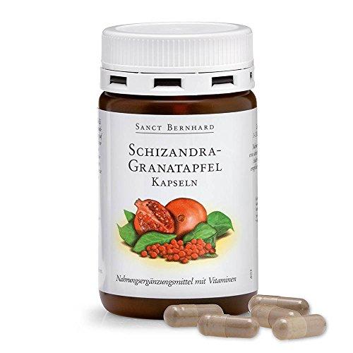 Sanct Bernhard Schizandra-Granatapfel-Kapseln mit Ellagsäure, Vitamin B6, B12, Folsäure 90 Kapseln