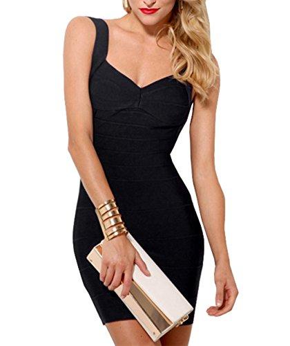 Reizvolle Frauen nehmen Sommer ärmellos Rückenfrei Kleid Festkleid Cocktailkleid Abendkleider Partykleid Abschlusskleid Etuikleider Schwarz