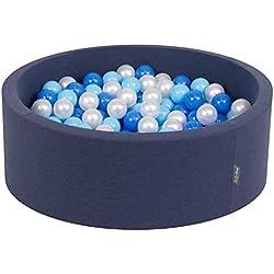 KiddyMoon 90X30cm/200 Balles ∅ 7Cm Piscine À Balles pour Bébé Rond Fabriqué en UE, Bleu Foncé: Babyblue/Bleu/Perle