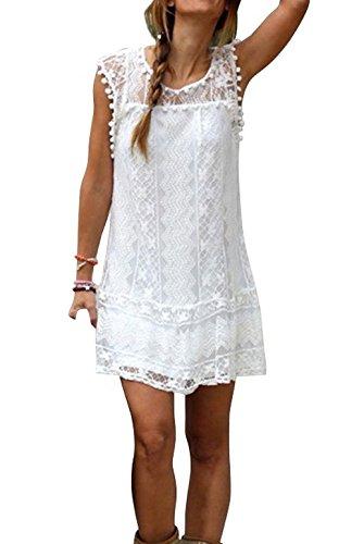 Damen-Minikleider-Rundhals-Ausschnitt-rmellos-Partei-Ballkleid-Spitze-Hohl-Kleid-Sommerkleid-Blusen-Tunika