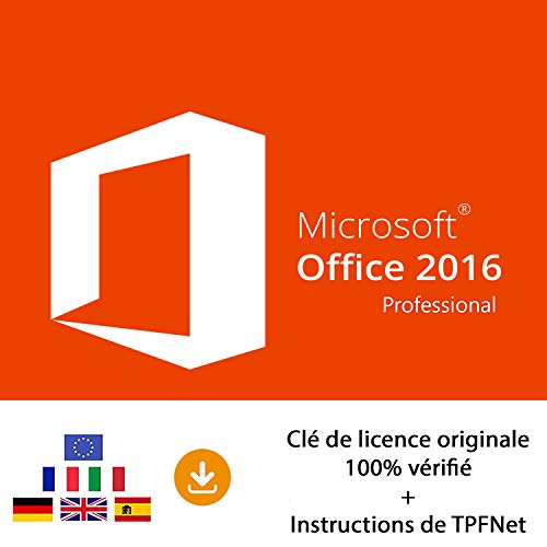 MS Office 2016 Professionnel 32 Bits & 64 Bits - Clé de Licence Originale par Postale et E-Mail + Instructions de TPFNet® - Livraison Maximum 60min