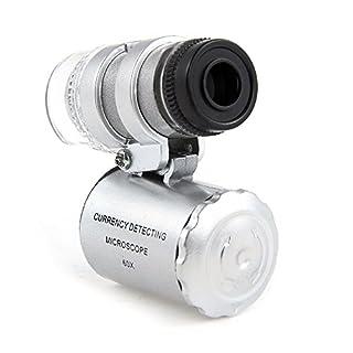 Aussel 60X Minitaschen Illuminated Jewelers Mikroskop Vergrößerungsglas Einstellbare Lupe mit UVwährungdetektor und Fluoreszenz LED White Lights