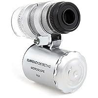 Aussel 60 x - Lupa de microscopio ajustable con detector de moneda UV y luces LED fluorescentes de color blanco