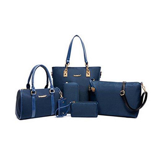 Yesiidor Umhängetasche Damen Frauen Taschen Groß Elegant Umhänge Shopper 6-Teilig Handtasche in 4 Farben Blau