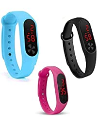 Shine Enterprise Silicone Slim Digital LED Black, Red Dial Boy's and Girl's Bracelet Band Watch -Combo Set of 3 Watch