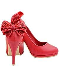 UENGF Tacones Altos Zapatos Rojos Mujer Mariposa Nudo Cristal Dulce 9 Cm Tacones  Altos Bombas Zapatos b669af266362
