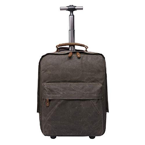 HWYP Rolling Trolley Rucksack Versteckte Stange Retro Canvas USB Tasche, Laptop Rucksack Outdoor/Reise Frauen/Männer-green (Frauen Rolling Laptop Tasche)