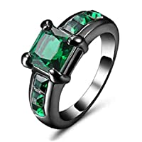Women's Black Rhodium plated Ring inlaid with Emerald green gemstone size US 7