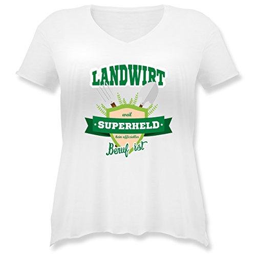 Landwirt - Landwirt - weil Superheld kein offizieller Beruf ist - S (44) - Weiß - JHK603 - Weit geschnittenes Damen Shirt in großen Größen mit V-Ausschnitt (Plus Size Superhelden Shirts)