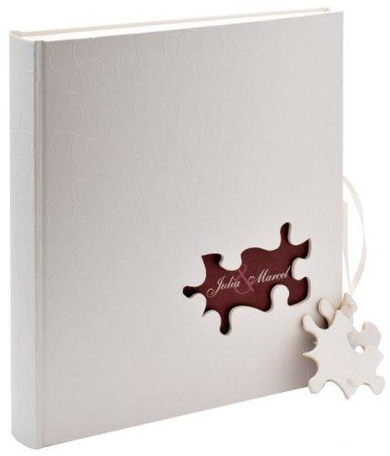 Walther design uh-173 album da incollare per nozze puzzle, lino, bianco, 29 x 4.5 x 31 cm