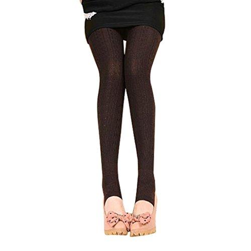 Capri Brown Bekleidung (Sannysis Damen Winter Warme Mädchen Bequeme Frauen Baumwolle Strumpfhosen Hosen Leggings Steigbügel Hosen (Brown))