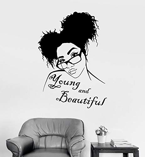 Vinyl wand applique Afrikanische coole mädchen frisur tragen brille aufkleber mädchen schlafzimmer wanddekoration wohnzimmer dekoration 57 * 79 cm