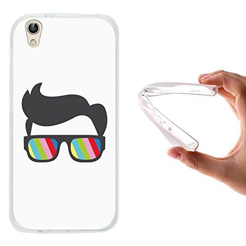 WoowCase UMI London Hülle, Handyhülle Silikon für [ UMI London ] Sonnenbrille und Nerd Stil Handytasche Handy Cover Case Schutzhülle Flexible TPU - Transparent