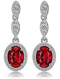 JewelryPalace Pendientes elegante adornado Rubí creado en plata de ley 925