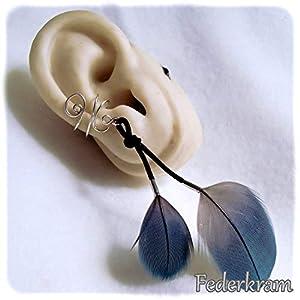 Papagei blau Feder Ohrschmeichler versilbert. Ear cuff earcuff Ohrklemme Ohrclip ohne Piercing, Federkram
