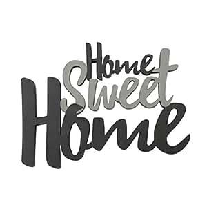 """Holzschrift, """"Home Sweet Home"""", grau, Holz, 20x15 cm, ideal als Wand-, Tisch- oder Geschenkdekoration, Holzspruch, Holzschrift"""