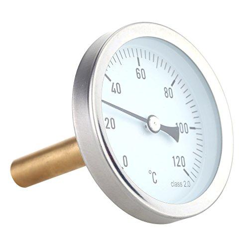 KKmoon 63mm horizontale Dial Thermometer Aluminium Temperatur Messgerät 0-120 ° C (Horizontale Flüssigkeit)