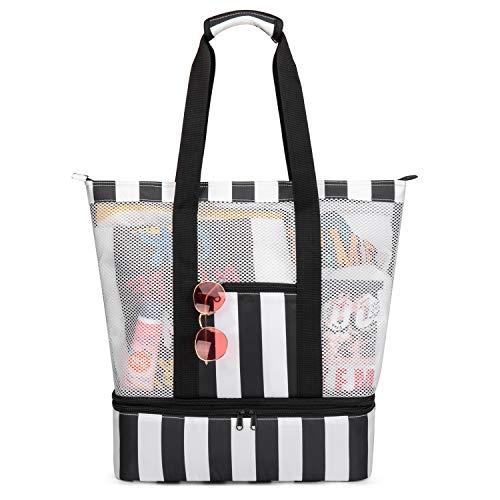Strandtasche Groß mit Kühlfach Reißverschluss Sommer Tasche für Strand Urlaub Reise Picknick Shopper von Bertasche (Schwarz/Weiß) -