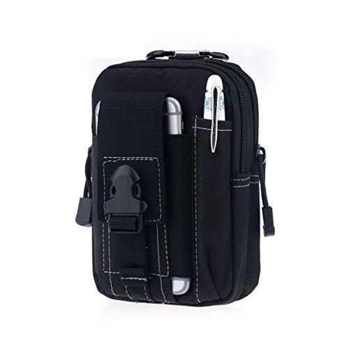 Poche Molle tactique, Monodeal EDC Utility Gadget ceinture sac avec porte-étui pour téléphone cellulaire et deux compartiments à fermeture éclair, pochette latérale résistante à l