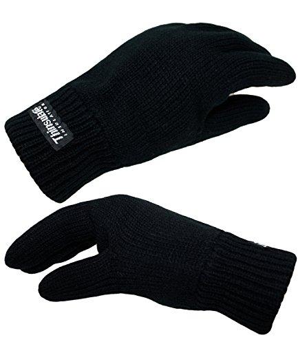 EveryHead Herrenhandschuhe Strickhandschuhe Handschuhe mit Thinsulate Isolations Fleece Futter für Herren (EH-FBA-177-188-W16-HE0-18-XL) in Schwarz, Größe XL inkl. EveryHead-Hutfibel (Polar-fleece-handschuhe)