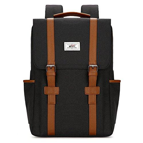 Laptop Rucksack College Rucksack Schultasche passt 15 Zoll Laptop für Männer und Frauen (Black)