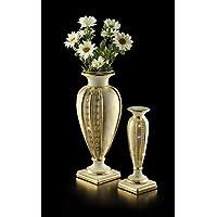 Stella-Keramik, beige Vase mit Finishing-Maser und Gold, goldenen Messing Halskette Swarovski, Gold Paillettenverzierung