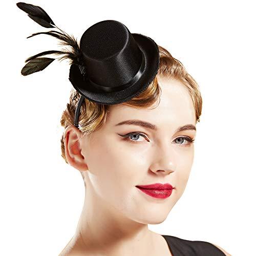 Coucoland Damen Mini Top Hut Feder Zylinder Hut Haarreif Haarspangen Dual Use Englische Tee Party Hut Flapper Zubehör Fasching Kostüm Accessoires (Schwarz)