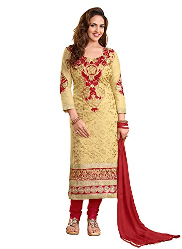 Khushali Women Cotton Embroidered Unstitched Salwar Suit Dress Materials (Beige)  available at amazon for Rs.1099
