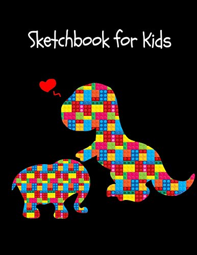 The Unofficial Lego Blocks Cute Dinosaur T-Rex & Baby Elephant, Animals Notebook Gift for Boys ~ Sketchbook for Doodling & Drawing ()